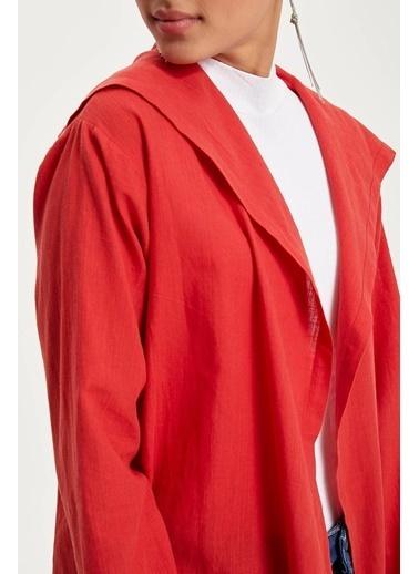 DeFacto Salaş Uzun Ceket Kırmızı